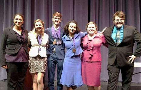 McKendree University Speech Team members Lyndellia Mannie, Grace Alexander, Andrew Wagner, Lea Smith, Kate Maag and Brett Hanna.
