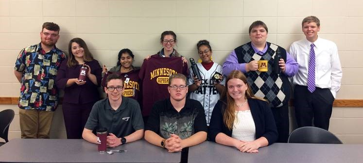 Competing at the Minnesota Classic were McKendree University debate team members Caden Owens, Brian Duvendack and Isabella Strimling (seated); back row, Kyle Garrett, Rebecca Postula, Haylee Christ, Chandler Flesch, Adeja Powell, Mitch Deleel and Scott Anderson.
