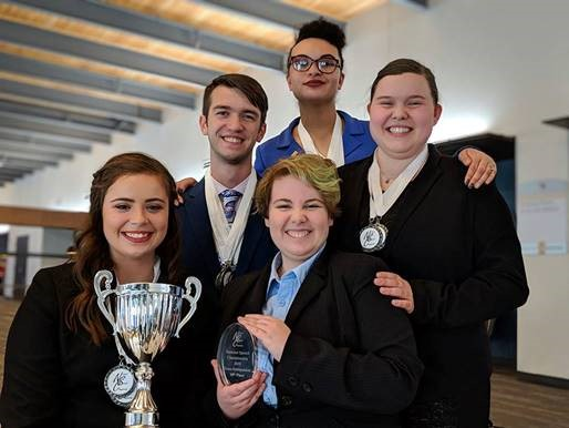 Front row, Isa Scaturro and Taylor Roth; middle row, Andrew Wagner and Kate Maag; back, Aliyah Smith at the National Speech Championships at Oakland University.