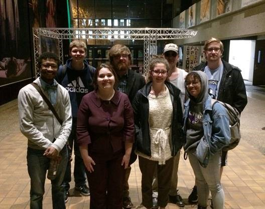 Front row, Lance Allen, Rebecca Postula, Chandler Flesch and Adeja Powell; back row, Scott Anderson, Kyle Garrett, Brian Duvendack and Brent Nicholson at the Lincoln-Douglas Grand Prix at Missouri State University.
