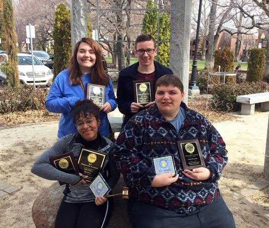 Front, row, Adeja Powell and Mitch Deleel; back row, Rebecca Postula and Caden Owens at the National Parliamentary Tournament of Excellence at the University of Utah.
