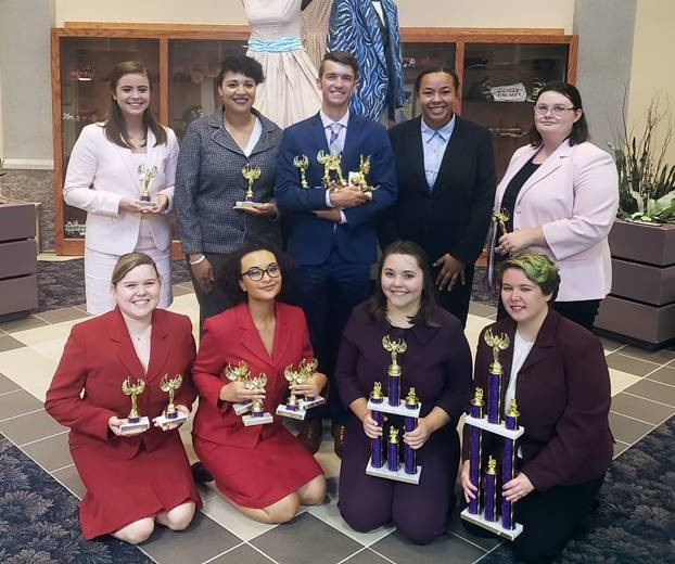 McKendree University speech team members competing at Derryberry Memorial Tournament at Southwest Baptist University were (kneeling), Kate Maag, Aliyah Smith, Rebecca Postula and Taylor Roth; standing, Isa Scaturro, Lyndellia Mannie, Andrew Wagner, Kelsey Fann and Rachael Hooven.