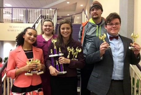 McKendree University at the Southwest Baptist University speech and debate tournament were, front row, Aliyah Smith, Isa Scaturro and Brett Hanna; back row, Kate Maag and Justin Fausz