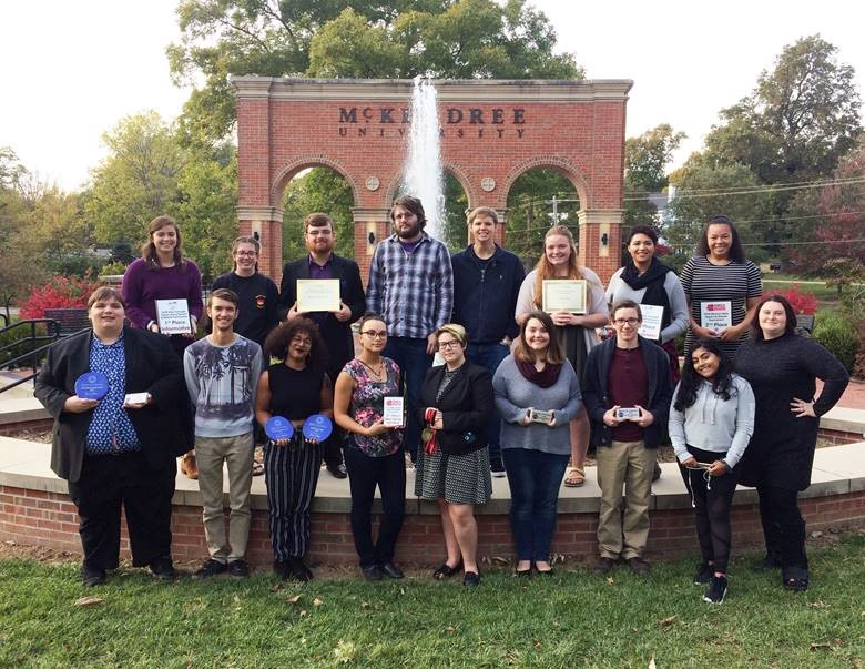 Competing for the award-winning McKendree University speech and debate team are, front row: Mitch Deleel, Andrew Wagner, Adeja Powell, Aliyah Smith, Taylor Roth, Rebecca Postula, Caden Owens, Haylee Christ and Rachael Hooven; back row, Isa Scaturro, Chandler Flesch, Kyle Garrett, Justin Fausz, Scott Anderson, Isabella Strimling, Lyndellia Mannie and Kelsey Fann.