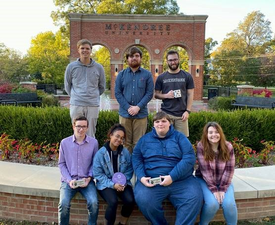 McKendree debaters, front row, Caden Owens, Adeja Powell, Mitch Deleel, Rebecca Postula; back row, Scott Anderson, Kyle Garrett at Kyle Smith competed at the University's Bearcat Classic and Hunsaker Invitational.