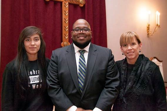 Photo of cKendree University MLK Humanitarian Award recipients, Diana Nevarez '17, Courtney Logan '08 and Dr. Ann Collins