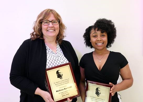 Dr. Melissa Barfield and Brianca Spells received the  McKendree University 2020 MLK Humanitarian Award on Jan. 24.