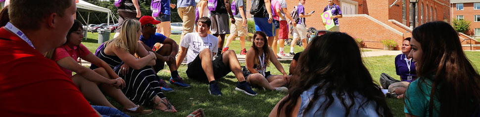 Students Talking on Lawn at New Student Orientation