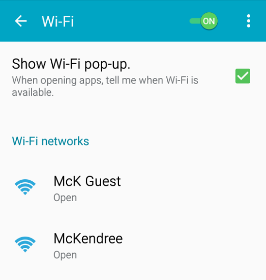 Android Wifi Settings