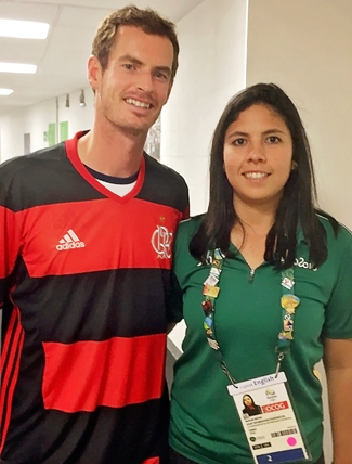 Photo of Nathalia with Andy Murray