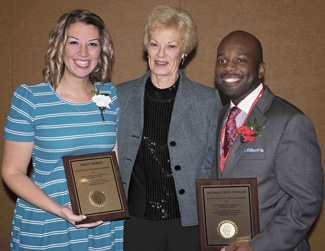 Photo of Emily (Zanfes) Weber '09, Dr. Martha Eggers, and Reggie Duncan, M.A.Ed. '12
