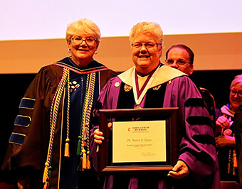 The 2019 United Methodist Church Exemplary Teacher Award was presented to Dr. Nancy Ypma. The Distinguished Service Professor has taught music at McKendree since 1988 and is the University's pianist and organist. As chair of the Division of Visual and Performing Arts, she ensures that its music, art and theatre curricula and programs are of the highest quality.