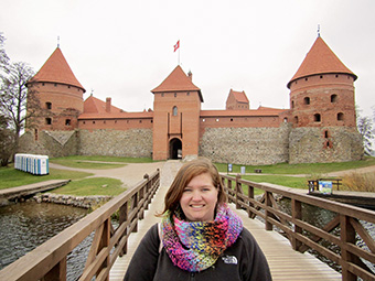 Rev. Erin Totten '11 at the 15th century Trakai Island Castle in Lithuania.