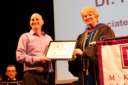 Nigel Darvell accepts one of the two Associate Faculty Awards for Excellence in Teaching