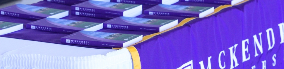 Photo of Course Catalogs on Convocation Day