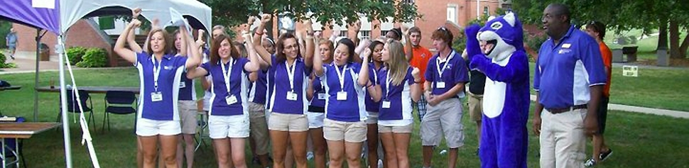 Group of New Student Orientation Leaders Cheering