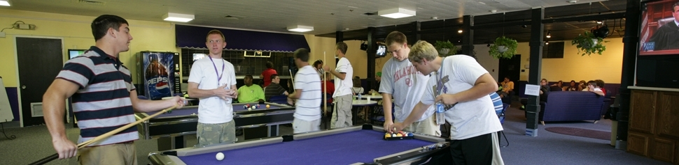 Students Playing Billiards in teh Lair