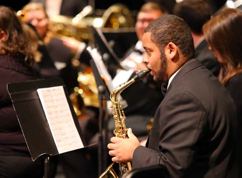 Music Student Playing in the Concert Band