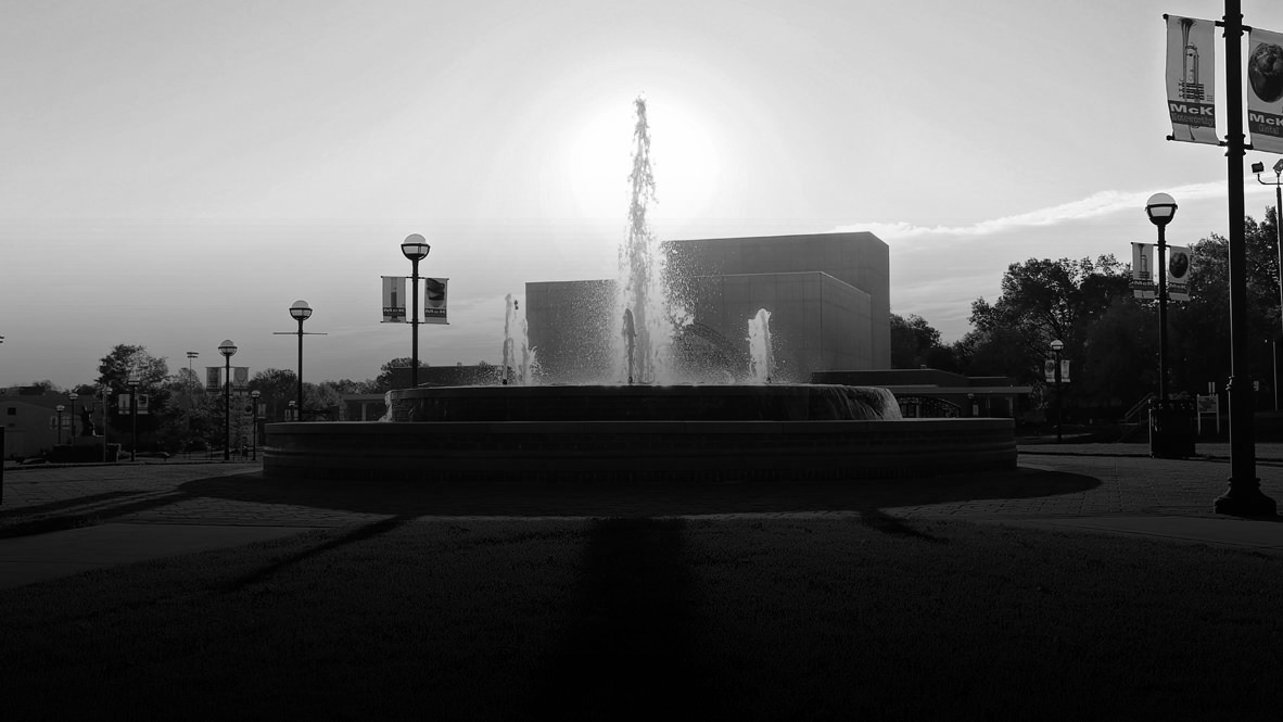 Campus Quad Fountain in the Sunlight