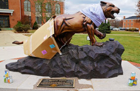Photo of the Bearcat Statue During Hunger & Homelessness Week