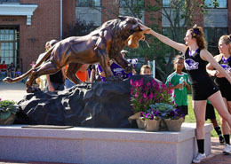 Photo of Cheerleader Rubbing the Nose of the Bearcat Statue
