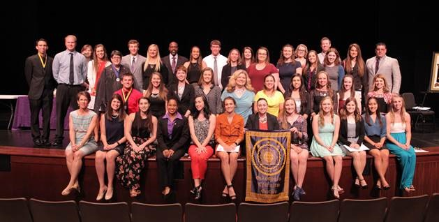 New members at Phi Kappa Phi's Induction Ceremony in April 2016.