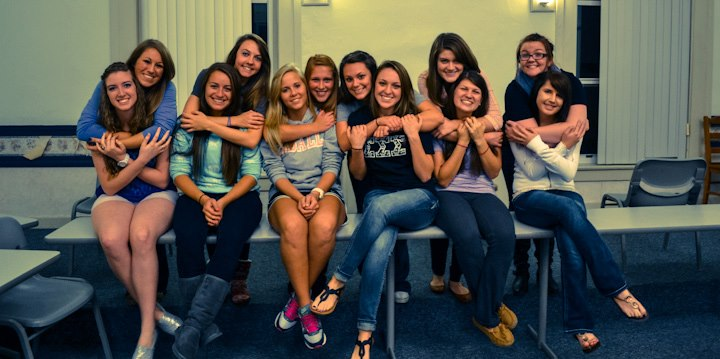 Some of the sisters at our big/little reveal in Fall 2012