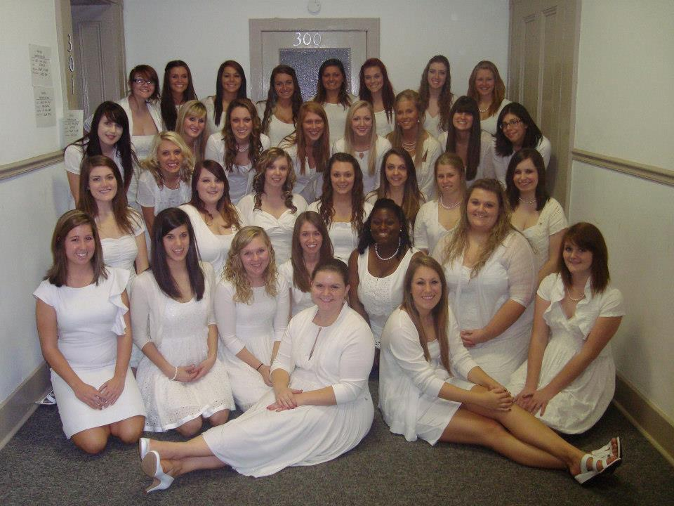 The ladies of Sigma Sigma Sigma at initiation, Fall 2012