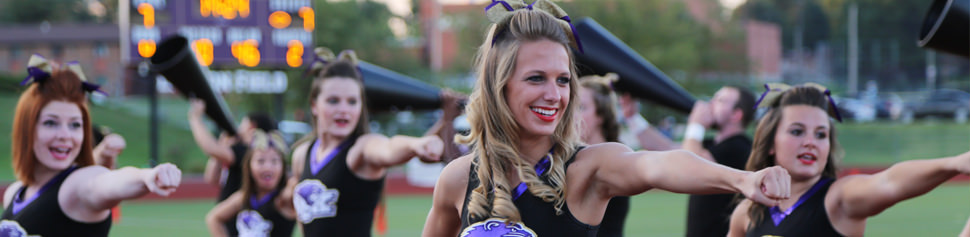 McKendree Cheerleading Squad at Evening Football Game
