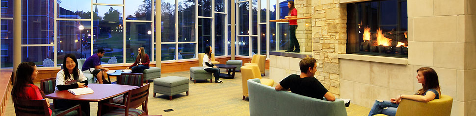 Photo of New Residence Hall Fireplace Lounge